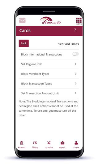 Mobile Device Showing How to Set Card Limits